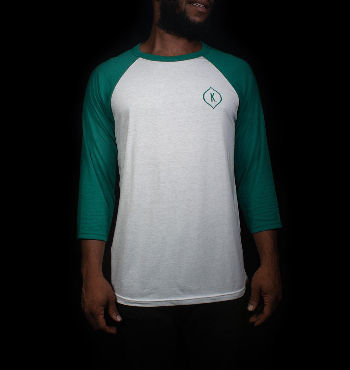 Kaya Baseball t-shirt with green sleeves