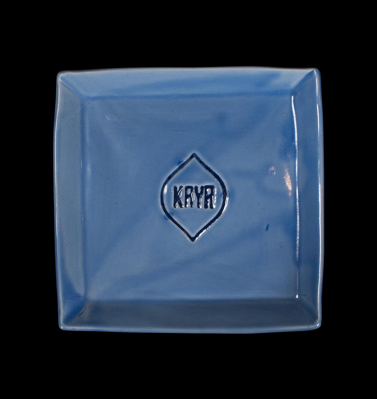 Blue Ceramic Square Ashtray